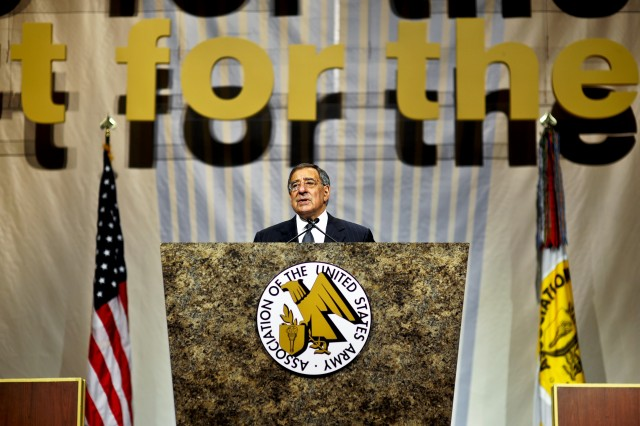 Defense Secretary Leon E. Panetta delivers remarks at the Association of the U.S. Army's annual meeting and exposition in Washington, D.C., Oct. 12, 2011.