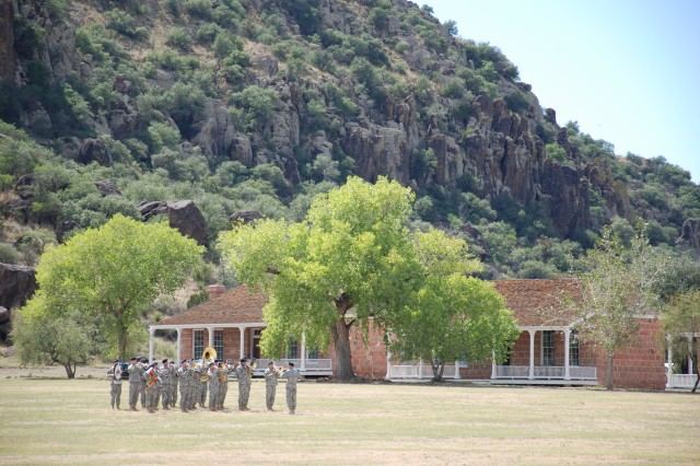 The 1st Armored Division Band plays at Fort Davis National Historic Site Saturday as part of the fort's 50th anniversary with the National Park Service.