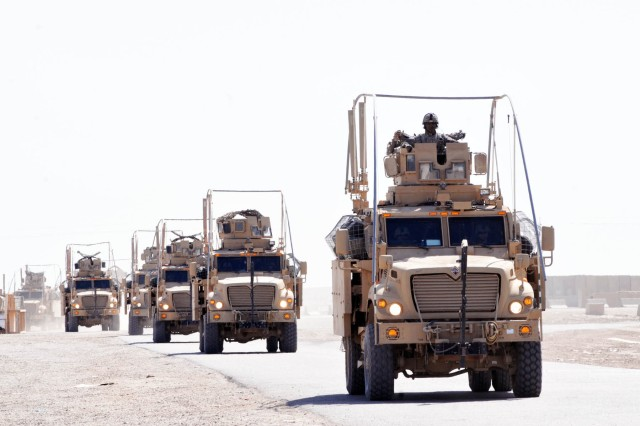 a convoy of vehicles from 1st battalion 8th cavalry regiment 2nd brigade 1st cavalry