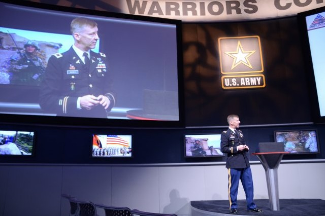 Col. Mark M. Reeves, an officer assigned to the U.S. Army Medical Command, gave a presentation about MEDCOM's Army Medical Home initiative Oct. 11, 2011, at the Warrior's Corner exhibit at the AUSA Symposium.