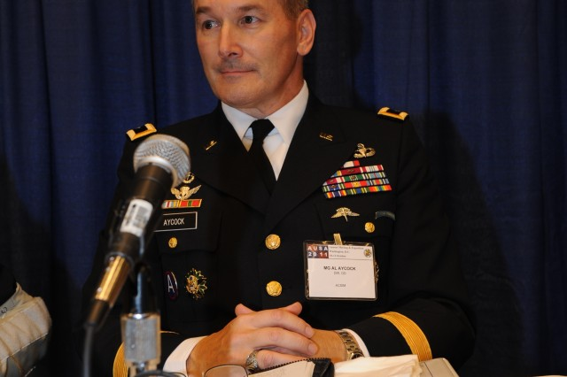 Maj. Gen. Al Aycock, Director of Operations, ACSIM provides and overview of initiatives and discusses Basing Power during the Army Power and Energy Panel presentation at the AUSA Symposium in Washington D.C.