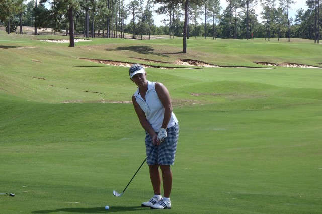 Lt. Col. Shauna Snyder, human resources chief, 18th MEDCOM (DS), prepares to chip and putt during the annual Armed Forces golf championships, in which she finished 4th overall for the ladies and 1st for the Army ladies,  held this year at the Wildcat golf course on Fort Jackson, SC Sept. 28 - Oct. 1.