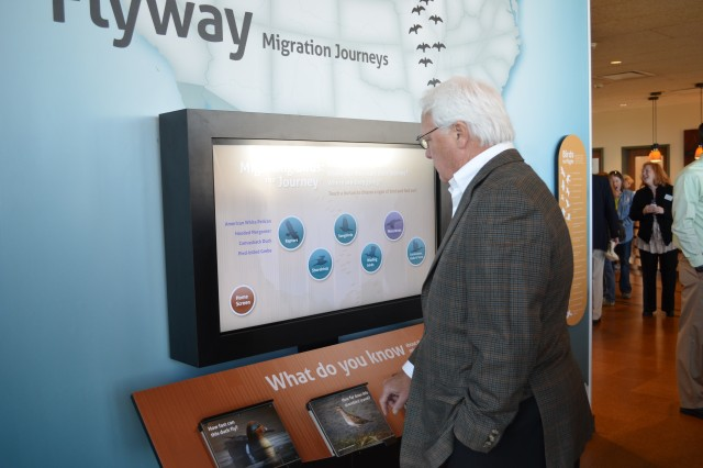A visitor at the Audubon Center at Riverlands learns about the migration journey of birds.