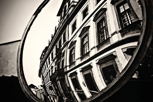 """""""Prague Reflections,"""" by Renee Cizek-Ward, won third place in the Civilian Monochrome category."""