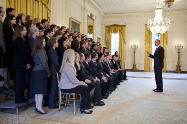 President Barack Obama greets the 2010 PECASE recipients, including Natick's Dr. Tad Brunye, in the East Room of the White House, Oct. 14.
