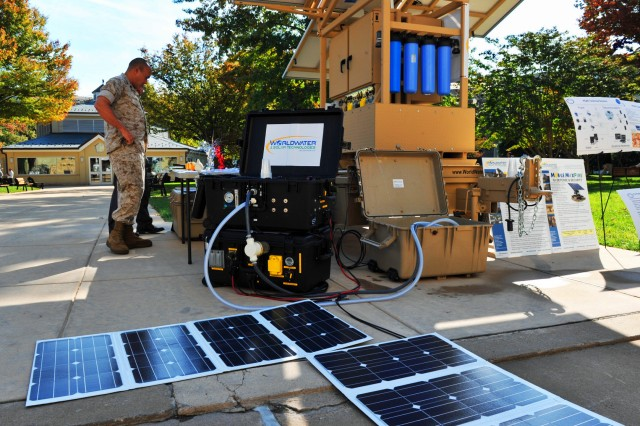 The Solar Hybrid Expeditionary Purication System, or SHEPS, comes comes in two 80-lb footlocker-sized boxes and can be powered by solar panels or batteries. It can produce 450 gallons of freshwater per day from tainted freshwater, brackish water or seawater sources. It was just one of many displays at the Pentagon's Energy and Sustainability Technology Fair held Oct. 17-21, 2011.