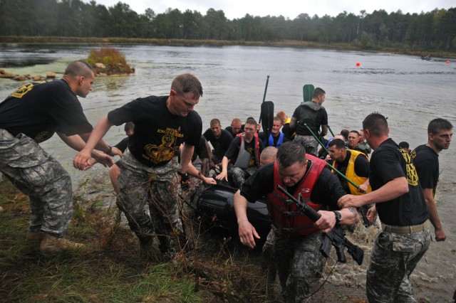 Engineer Soldiers take part in the annual Waal River Crossing competition held at Fort Bragg, N.C.  The Waal River Crossing competition is used to help remember and commemorate those Soldiers who participated in the actual crossing back in World War II.