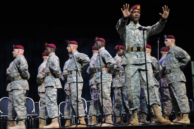 The 82nd Airborne Division All American Chorus performs at the Eisenhower Luncheon during this year's Association of the United States Army Meeting and Exposition in Washington D.C., Oct. 11.
