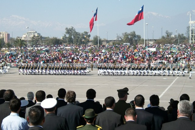 "Under Secretary of the Army Joseph W. Westphal attends the military parade during Chile's Fiestas Patrias. Westphal represented the United States as the senior official in attendance for Chile's Independence Day Ceremonies and National Army Day Ceremonies. The Fiestas Patrias of Chile occurs Sept. 18-19, commemorating the proclamation of the First Governing Body of 1810, and marking the beginning of the Chilean independence process. Sept. 19 is known as the ""Day of the Glories of the (Chilean) Army"" and is marked by a full pass and review of troops and first responders. Westphal also met with key government and military officials in order to assess future Army requirements and discuss regional security and cooperation efforts."