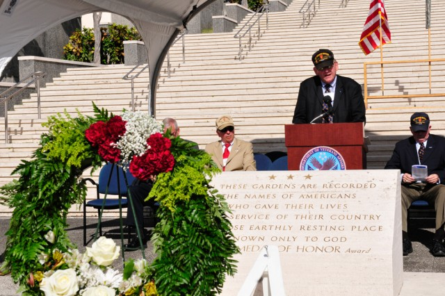"HONOLULU, Hawaii "" Thomas A Jones, president of the 25th Infantry Division Association speaks of the sacrifice of the Veterans and Soldiers that lost their lives over the past year during the annual 25th Infantry Division Association Memorial Service at the Nation Memorial Cemetery of the Pacific on Oct. 2 here."