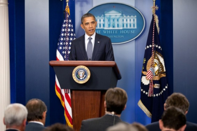 President Barack Obama announced during a press conference at the White House that all U.S. service members will leave Iraq by Dec. 31, 2011.