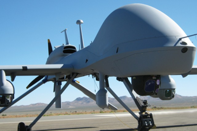 The Army's Gray Eagle Unmanned Aircraft with Triclops payload configuration allows three independent users to operate three sensor payloads from one unmanned aircraft.