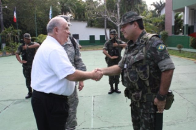 Under Secretary of the Army Joseph W. Westphal tours the Amazon Command Headquarters and the Brazilian Army's Jungle School in Manaus, Brazil. Westphal met with the unit in order to assess future Army requirements and discuss regional security