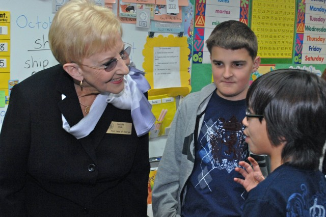 The First Lady of Georgia Sandra Deal speaks to Seoul American Elementary School students during her visit Oct. 17.