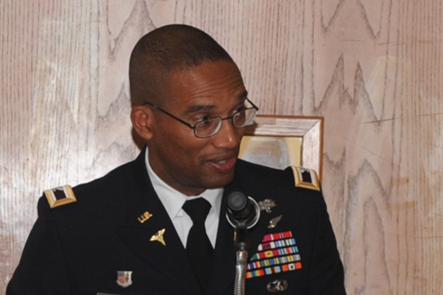 Eighth Army Command Surgeon Col. Ronald Smith speaks during the 38th Parallel Military Medical Conference on Yongsan Garrison.