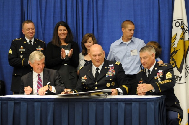 Top Army leadership renewed the Army Family Covenant, the Army's formal commitment to support Soldiers and theirfamilies, with a signing Oct. 10, 2011, at the 2011 Association of the United States Army Annual Meeting and Exposition. During November, Military Family Appreciation Month will be celebrated throughout the Department of Defense.