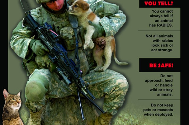 U.S. Army Public Health Command personnel designed these posters to combat new cases of rabies in Army personnel. These posters have been distributed Army-wide to further educate Soldiers about rabies and offer tips on how to prevent the deadly disease.