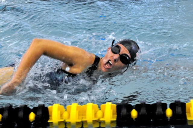 Staff Sgt. Stefanie D. Mason swims laps after visualization exercises during the 2011 Warrior Games practice week in May.