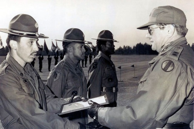 Now-retired Chief Warrant Officer 4 Dan Laguna became a drill sergeant. Immediately after graduating, he drove from Fort Jackson, S.C., to California to present his father with his hat. He's pictured here in 1976.