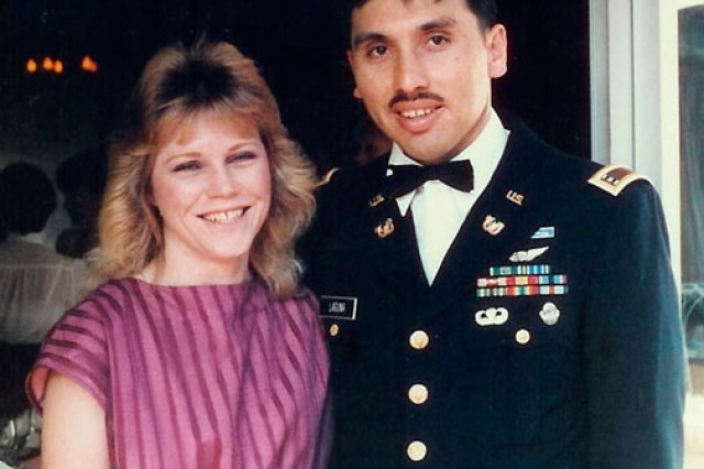 Now-retired Chief Warrant Officer 4 Dan Laguna poses with his wife Deonna in Hawaii, in 1985.