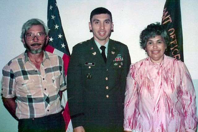Now-retired Chief Warrant Officer 4 Dan Laguna with his father, Dan Laguna, Sr., an injured Korean War vet, and his mother, Lydia, at Laguna's graduation from flight school in 1983. Later, Laguna's injuries from a helicopter crash so disturbed Laguna Sr., that he couldn't visit his son in the hospital without flashbacks to his own injuries.
