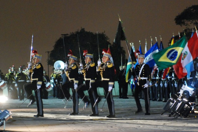 Members of the Peruvian army participate in the opening ceremony for the Conference of American Armies, held in Lima, Peru Oct. 24.  The annual conference has been held since 1961 and has provided a venue for the U.S. Chief of Staff of the Army to engage in multilateral and bilateral dialogue with his counterparts from North and South America.