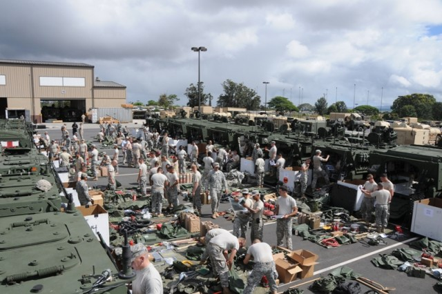"""SCHOFIELD BARRACKS, Hawaii """" Soldiers from 2nd Brigade Combat Team, """"Warriors,"""" 25th Infantry Division unpack equipment from their newly refurbished Stryker during a vehicle draw Sept. 13, here. The Stryker has remained absent from formation over the past three months but will now be integrated back into the Warrior Family as they move through the reset phase and conduct future training operations."""