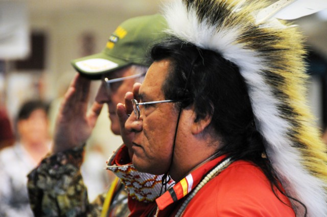 Richard Greybull and Donald Miller post the colors at the Native American Heritage Celebration last year. This year's event is Nov. 4-5 at the post exchange.