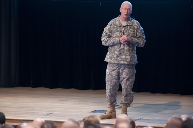 """Gen. Robert Cone spoke to both the flag officers engaged in the Combined/Joint Force Land Component Command, and the """"crown jewel of our leadership and our Army,"""" as he described the Army War College resident class, Oct. 26."""