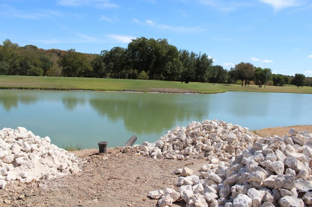 Fort Hood, Texas, Directorate of Family and Morale, Welfare Recreation and Department of Public Works work together to construct a green pump house with 13,000 feet of pipeline from a lake within the cantonment to the golf course irrigation system.