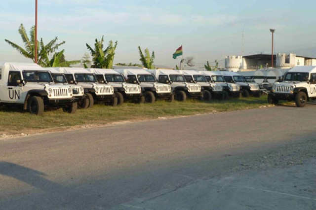 The delivery of J8 Jeeps to the Uruguayan Army, for the United Nations Stabilization Mission in Haiti program, was part of an expedited mission to replace 50-year-old Russian vehicles that are no longer supportable. Shown are the vehicles after arrival in Port-au-Prince, Haiti.