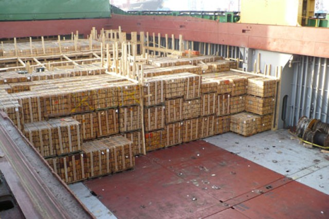 Various types of equipment and ammunition were delivered to Morocco on June 30 at the Casablanca Port as a result of two Excess Defense Articles (materiel no longer used by the U.S. military) Foreign Military Sales cases originating from USASAC.  Shown are pallets of ammunition aboard a transport ship.