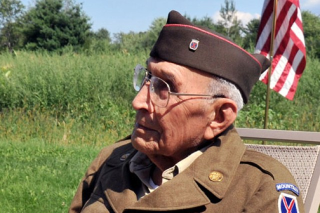 In a small ceremony at his home in Tamworth, N.H., Aug. 18, Harry Thompson, 102, a former 10th Mountain Division muleskinner, was honored for his service to the nation with a coin and a star letter from Fort Drum, N.Y., senior commander Brig. Gen. Harry E. Miller Jr.