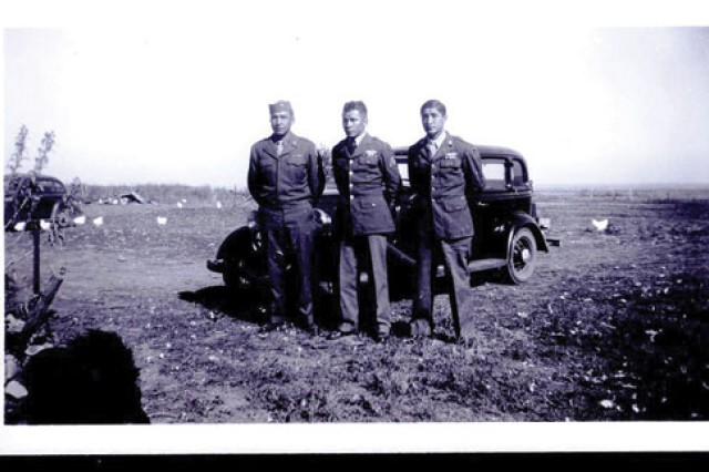 The Thompson brothers visit their family at the Lower Brule Sioux Reservation in South Dakota in the fall of 1945 after World War II ended. From left are Harry Thompson, Elgin Thompson and Victor Thompson.