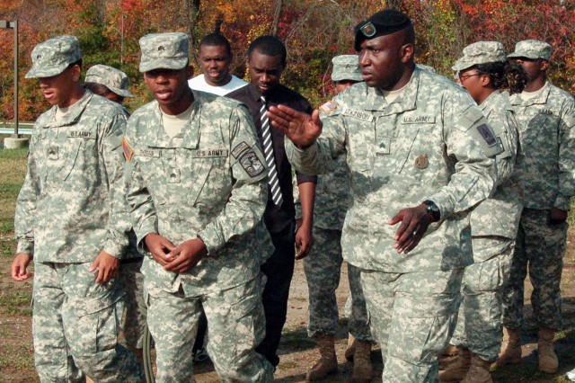 On the Bowie State campus, Baltimore-area recruiter Staff Sgt. Shawn Atkinson teaches combat maneuvers to ROTC students.