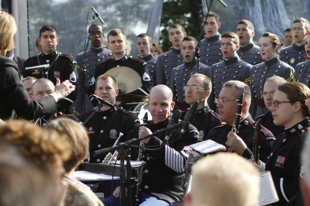 The West Point Band and Cadet Glee Club helped celebrate the anniversary of the Statue of Liberty dedication on Oct. 28, 2011, joining hundreds of invited guests in the festivities.
