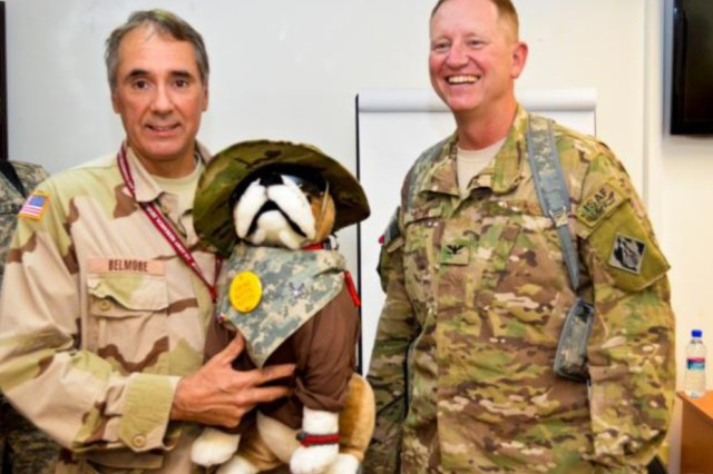 "Steve Belmore, left, with the ""Bulldog"" and District Commander Air Force Col. Benjamin Wham."