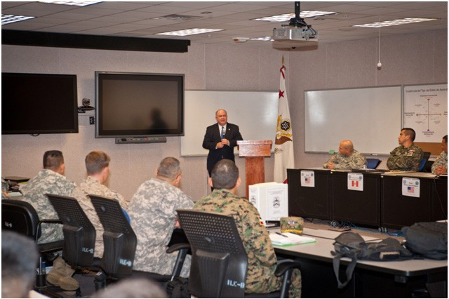 Under Secretary of the Army, HON Dr. Joseph W. Westphal addresses students enrolled in the Western Hemisphere Institute for Security Cooperation (WHINSEC). The institute provides professional education and training to eligible military, law enforcement and civilian personnel from nations throughout the Western Hemisphere. The curriculum is based on the democratic principles set forth in the Charter of Organization of American States and promotes respect for human rights, security cooperation, and the value of partnerships and democratic values in the Western Hemisphere. Under Secretary of the Army Westphal visited Fort Benning to gain situational awareness and ensure the Army is correctly prioritizing, balancing and integrating resources to support the mission of this vital institute.