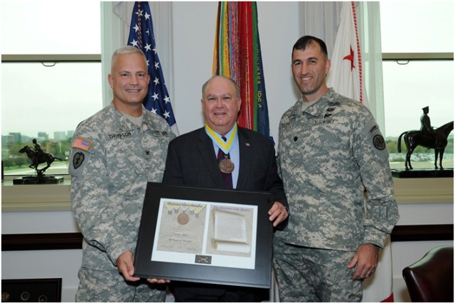 Under Secretary of the Army, HON Dr. Joseph W. Westphal (center) receives the Order of Saint Maurice (Civis), patron saint of the Infantry, from Colonel (Promotable) Burdett K. Thompson (left), and Lieutenant Colonel David C. Foley (right) for his demonstrated dedication and contributions in support of the Infantry community. HON Dr. Westphal's commitment to the Infantryman represents the highest standards of integrity, moral character, professional competence, and dedication to duty. The Order of Saint Maurice is awarded by the National Infantry Association and the Chief of Infantry of the United States Army. It is named after Saint Maurice, the leader of the Roman Theban Legion in the 3rd century. The Civis level recognizes civilians who have made significant or outstanding contributions to the U.S. Army Infantry.