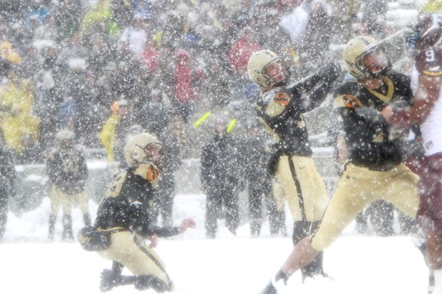 The Black Knights hosted Fordham at Michie Stadium during an early winter snow storm on Oct. 29, 2011, recording a shutout victory 55-0.
