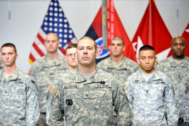 U.S. Army Staff Sgt. Christopher McCuiston leads a formation of Soldiers from the 10th Mountain Division prior to a reenlistment ceremony hosted by Gen. Raymond T. Odierno, not shown, Chief of Staff of the Army, during his visit to Fort Drum, N.Y. Oct. 25, 2011.