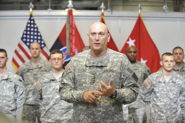 U.S. Army Gen. Raymond T. Odierno, Chief of Staff of the Army, host a reenlistment ceremony for 15 Soldiers from the 10th Mountain Division during his visit to Fort Drum, N.Y. Oct. 25, 2011.
