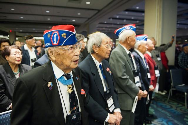 Nisei World War II Veterans from the 442nd Regimental Combat Team attend the WWII Nisei Veterans Program National Veterans Network tribute to the 100th Infantry Battalion, 442nd Regimental Combat Team and Military Intelligence Service on Nov. 1, 2011 in Washington, D.C.