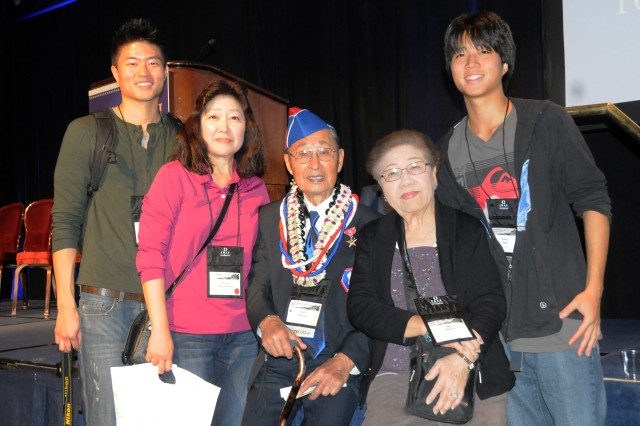 Kelsey Kam, Donna Masuda Kam, Don Masuda, Alice Masuda, and Kasey Kam attended a Nov. 1, 2011-ceremony in Washington, D.C., where 40 World War II Soldiers from the all-Japanese-American units -- the 442nd Regimental Combat Team, the 100th Infantry Battalion and the Military Intelligence Service -- were awarded the Bronze Star.  Don Masuda received the Bronze Star for his service in the 442nd during World War II.
