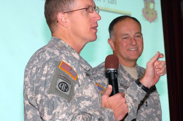 Garrison commander Col. John Hamilton and Redstone senior commander Maj. Gen. Jim Rogers address Army Family Action Plan conference attendees last week.