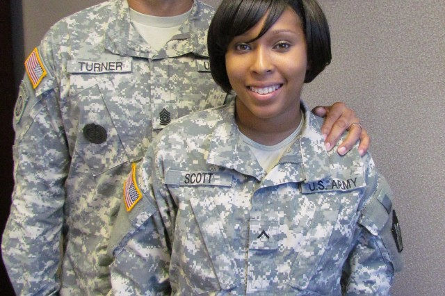 Command Sergeant Major Larry Turner And His Daughter Pvt. Lakisha Scott
