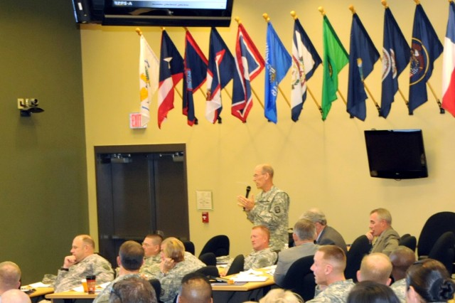 Soldiers and civilians from all components of the Army gather at a Human Resources leader summit to discuss the various issues facing the Army during the current era of persistent conflict. Topics included manning, non-deployability issues and how the future of the Army will be shaped as well as the challengegs of meeting requirements with the current available force. The conference was held at the 81st Regional Support Command at Fort Jackson, S.C. October 26-28 and over 200 senior leaders were in attendance. U.S. Army photo by Sgt. 1st Class Joel Quebec, 81st RSC Public Affairs Office.