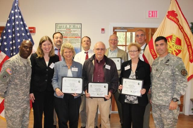 Fort A.P. Hill held a Citizens' Academy graduation Oct. 27.Front row, from left to right: Master Sgt. Travis Taylor, Fort A.P. Hill command sergeant major; Jennifer Erickson, Fort A.P. Hill public affairs officer; Karen Carter; Conway Carter; Margaret Kearns; Lt. Col. Jack Haefner, Fort A.P. Hill garrison commander. Back row, from left to right: Bryan Justice, Chuck Stepp, Pete Stover, Tom Rumora