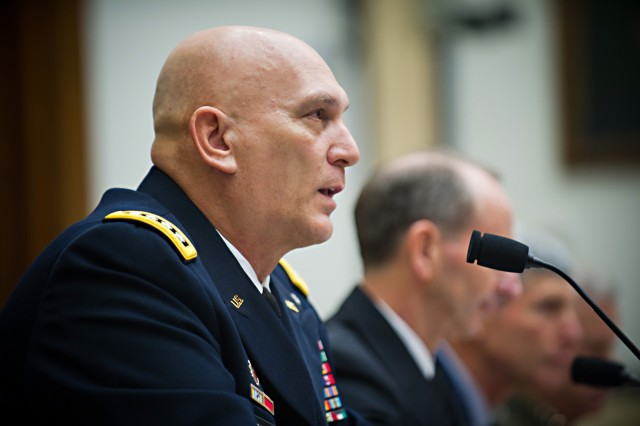 U.S. Army Chief of Staff Gen. Raymond T. Odierno testifies before the House Armed Services Committee along with Chief of Naval Operations Adm. Jonathan W. Greenert, Air Force Chief of Staff Gen. Norton A. Schwartz, and Marine Corps Commandant Gen. James F. Amos at Capitol Hill Nov. 2, 2011 in Washington, D.C.