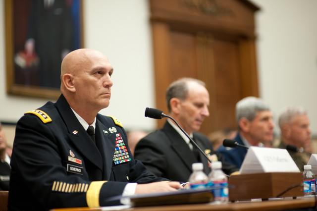 U.S. Army Chief of Staff Gen. Raymond T. Odierno, testifies before the House Armed Services Committee along with Chief of Naval Operations Adm. Jonathan W. Greenert, Air Force Chief of Staff Gen. Norton A. Schwartz, and Marine Corps Commandant Gen. James F. Amos at Capitol Hill, Nov. 2, 2011, in Washington, D.C.